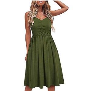 Fulltime® Robe d'été/col en V pour Femme Pure Casual à Lacets Sling Temperament Robe au Genou/Robe de Plage (Green,M)