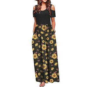 Fulltime® Robe pour Femmes/Femmes été épaule Froide Impression Florale élégante Maxi Robe de Poche Robe Longue (Noir,L)