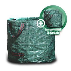 GARSA Lot de 3 sacs à déchets de jardin de 60 l – Sac de jardin pratique de qualité supérieure – Sac à feuilles auto-déployant pour déchets de jardin avec quatre poignées indéchirables