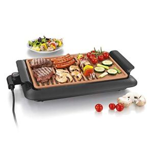 GOURMETmaxx Grille électrique de table, sans fumée| Grille électrique avec 2 surfaces de grillage pour un résultat optimal| Revêtement anti-adhésif en céramique, sur la terrasse ou à table [1250 Watt]