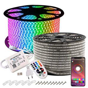 GreenSun LED Lighting Ruban à LED, étanche, 20m RGB Bande LED Lumineuses aux couleurs changeantes avec une télécommande Bluetooth à 24 Touches Pour Fête de Noël, Les Jardins, Maisons
