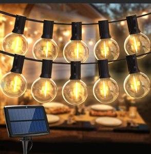Guirlande Lumineuse Exterieur Solaire, BALIPPE Guirlande Guinguette Solaire avec 2 de Rechange, 4 Modes d'Éclarage, Décoration Intérieur et Extérieur pour Jardin Fête Patio Terrasse (15+2 Ampoules)