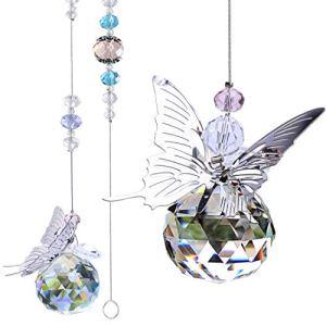 H&D HYALINE & DORA Attrape-soleil à suspendre en forme de papillon avec boule de cristal 30 mm