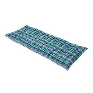 HOMESCAPES Coussin pour Banc de Jardin 2 Places, Matelas de Sol en Coton 108×42 cm, Carreaux écossais Bleu