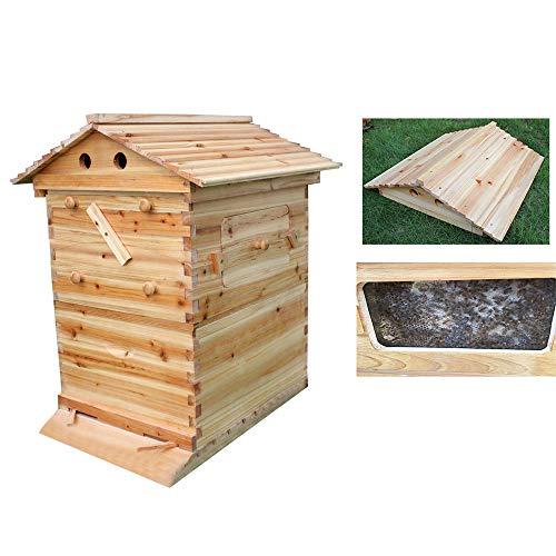 JHKGY Ruche en Bois Naturel pour Abeilles -Maison D'abeilles 65 X 43 X 23 Cm Maison D'insectes en Bois Ruche Apicole,Facile À Accrocher – Idée De Cadeau De Noël