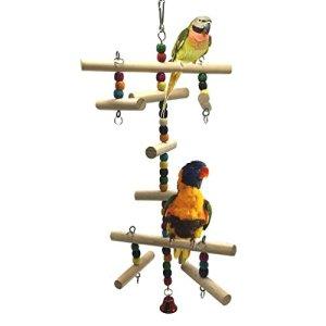 Jouet d'échelle en bois pour perroquet, perruche, inséparables, calopsitte, conure, pinson ou ara gris africain