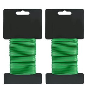 KINGLAKE Lot de 2 attaches souples de 2 mm pour jardin – 10 m de fil flexible – Revêtement en plastique