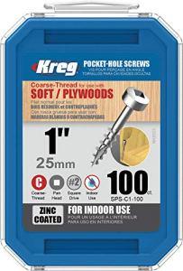Kreg Vis de poche SPS-C1-100, 2,5 cm #7 à filetage grossier, tête cylindrique (100 pièces)