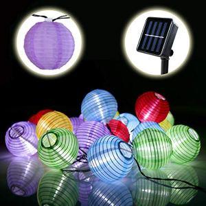 Lamker 60 LED Guirlande Lumineuse Solaire Lampion Lanterne Etanche Extérieur Chaîne Lumière Décorative pour Jardin Terrasse Mariage Noël Fête Cour Couloir Maison Multicolore
