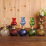 Lampe a Petrole Ancienne,Lampe tempete huile,Couleur classique verre kérosène lampe Vintage huile lumières décoration lampe de table bureau lumières artisanat lanterne (green)