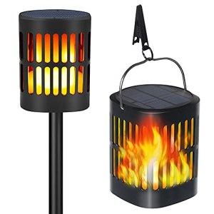 Lampes de jardin solaires d'extérieur TEQStone, lampes torches à flamme solaire LED, effet de flamme scintillant réaliste, IP65 étanche avec chargement USB (pack de 2)