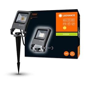 LEDVANCE Endura Flood Spike LED | Projecteur Piquet Extérieur | Gris foncé | 10 Watts – 800 Lumens | Blanc Chaud 3000K | Etanche IP65