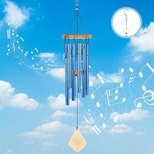 Lemecima Carillon a Vent Exterieur 6 Tube Aluminium Carillon a Vent Feng Shui Eoliens pour Extérieur Jardin et Décoration d'intérieur Cadeau (Bleu)