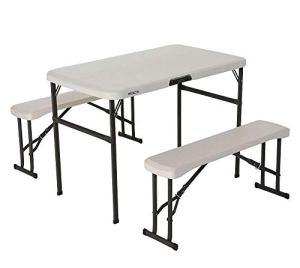 Lifetime 80352 Ensemble Camping Table et bancs-Beige Amande, Almond, 106,6 x 60,9 x 73,6 cm