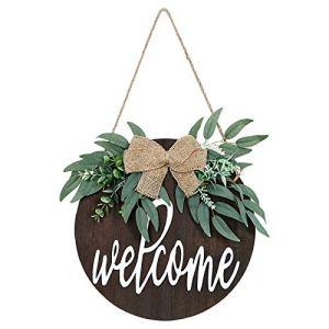 LOMOHOO Plaque de bienvenue ronde en bois à suspendre pour porte de jardin ou de bienvenue
