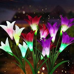Lot de 3 lampes solaires de jardin à LED pour extérieur, lampes solaires de jardin avec changement de couleur et panneau solaire, lumières décoratives pour jardin, balcon, pelouse, terrasse, champ