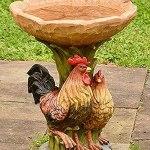 LOYSEN Résine Birdbath Jardin, Coq Coq et Poulet Bâton, Coq Coq Coq Shallow Board Bateaux Décoratif Appliquer à la Statue de Jardin Debout Debout en extérieur