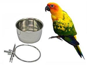 Mangeoire à oiseaux à suspendre en acier inoxydable avec support de serrage – Pour oiseaux et oiseaux – 283,5 g