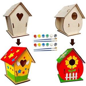 MaQue Construire Maison D'oiseau Bricolage, 2 Pièces Kits de Maison d'Oiseau en Bois Nichoir, Suspendu Arts Peinture de Nichoirs en Bois pour Enfant Garçons Filles (Avec Peintures Et Pinceaux)