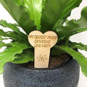 Marqueur en bois personnalisé pour plantes ou bouquets – Pour intérieur ou extérieur – Cadeau de fête des mères, fête des pères, amie, sœur