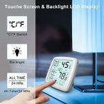 NIXIUKOL Thermometre Interieur Hygrometre Thermomètre Digital Fiable avec Grand Ecran Tactile, Indicateur de Confort, Hydrometre Moniteur de Température pour Chambre Bébé Maison Bureau Blanc, 2 Pièces