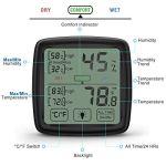 NIXIUKOL Thermometre Interieur Hygrometre Thermomètre Digital Fiable avec Grand Ecran Tactile, Indicateur de Confort, Hydrometre Moniteur de Température pour Chambre Bébé Maison Bureau Noir