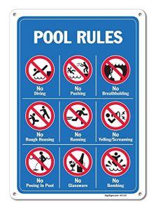 None Brand NIUMEA Pool segni – Plaque en aluminium avec inscription « Pool Rules »
