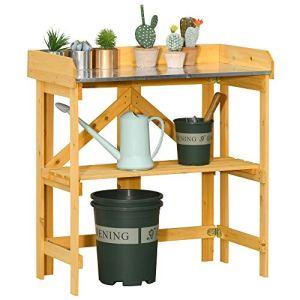 Outsunny Table de rempotage Jardinage Pliable – étagère Plateau Acier galvanisé avec Rebord – Bois Sapin pré-huilé