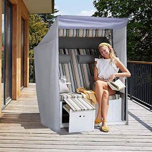 PATIO PLUS Couverte pour Corbeille de Plage Mer – Housse de Protection pour Chaise de Plage, 600D Tissu Oxford Anti-UV, Coupe-Vent, Imperméable et Résistant – Gris 135 x 105 x 175/145 cm