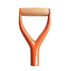 Poignée en forme de D pour pelle à neige – 22,9 cm – Pelle à neige en métal – Poignée de rechange avec poignée en bois – Outil de jardinage (Orange)