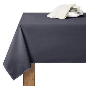 RYB HOME Nappe Rectangulaire Anti Tache – 150 x 260 cm Gris Décoration pour Table Couverture Uni Style Simple de Maison Jardin pour Noel/Halloween