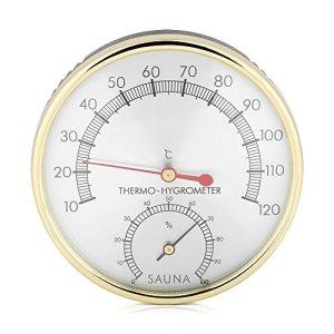 Salle de sauna, thermomètre d'intérieur à cadran en métal Hygromètre Hygro-thermomètre Accessoire de salle de sauna