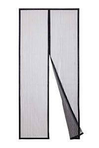 Sekey Avancée Rideau Magnétique Anti-insectes pour Porte de Balcon, porte Cave, Porte de Terrasse, Montage Facile à Coller, Kit d'installation Complet (110 x220 cm, Noir)
