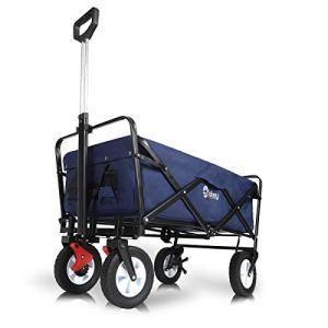 Sekey Chariot de Jardin Pliable avec Freins   Charrette Pliable   Charrette à Main Pliant   Chariot remorque de Jardin d'extérieur   Chariot de Transport, Bleu foncé