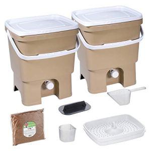 Skaza Bokashi Organko Set (2 x 16 L) Composteur 2X pour Jardin et Cuisine en Plastique Recyclé | Kit de démarrage avec Activateur de Fermentation Bokashi Organko 1 kg (Cappuccino-Blanc)