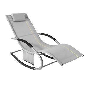 SoBuy OGS28-HG Bain de Soleil Chaise Longue Fauteuil à Bascule avec Appui-tête et Pochette latérale et Repose-Pieds Transat de Jardin Rocking Chair Confortable