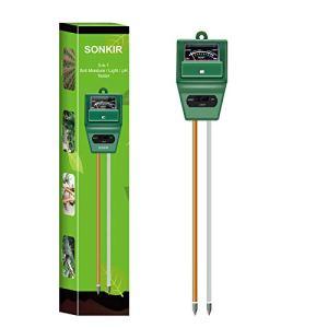 Sonkir pH-mètre de Sol, testeur d'humidité/lumière/pH du Sol 3-en-1 Kits d'outils de Jardinage pour Le Soin des Plantes, idéal pour Le Jardin, la pelouse, la Ferme (Vert)
