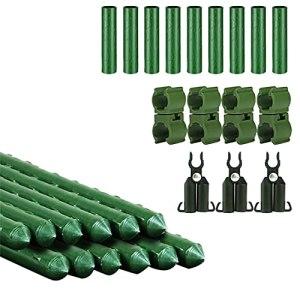SOONPAM Lot de 12 tuteurs de plantes robustes en acier pour plantes grimpantes avec tube de raccordement droit, boucles et connecteur de type A pour arbustes grimpants 60 cm