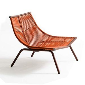 SPARROW Chaise Canapé en rotin extérieur Simple Lounger Chaise Lazy Dossier Balcon Salon Cour Art Deck Chair (Color : Red, Size : Low Back Chair)