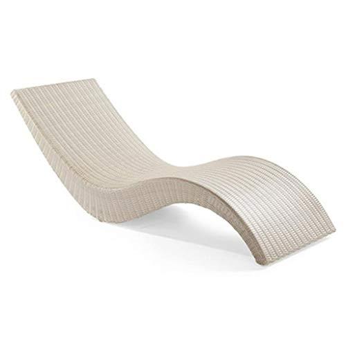 SPARROW Chaise Longue en rotin extérieur Lit Bord de la Piscine Plage Chaise Lazy Cour Canapé Chaise (Color : White)