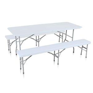 Strattore Ensemble Table 2X Banc de Jardin en Plastique Traiteur Pliante Table Buffet Picnic Plateau Camping Pliable avec Poignée