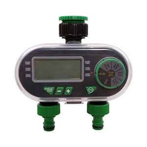 Sunydog YL21060 contrôleur d'irrigation d'électrovanne électronique à deux ports minuterie d'eau numérique avec fonction de retard de pluie pour l'arrosage automatique/manuel du jardin