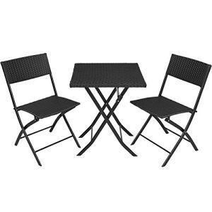 TecTake 800700 Salon de Jardin résine tressée 2 Personnes, 2 Chaises et 1 Table Pliantes – Plusieurs Coloris – (Noir | no. 403196)
