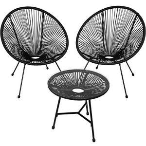 TecTake 800730 2 Fauteuils Acapulco de Jardin de Salon Design rétro, avec 1 Table, pour Un Usage en intérieur et extérieur – Plusieurs Couleurs – (Noir | no. 403307)