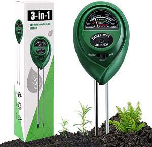 Testeur de sol, Humidimètre de Sol, Testeur de sol 3 en 1 pour l'humidité/ la lumière du soleil / le pH- Convient pour les plantes, l'entretien du jardin, l'utilisation à l'intérieur et à l'extérieur
