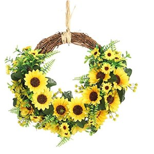 Tuimiyisou Porte Couronne Suspendue Garland Fleurs artificielles Feuilles Vertes tournesols pour la décoration de Jardin