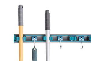 UPP Rail de Fixation Mural Porte-Outil, Support et accroche Balai I Support à Crochet de Rangement I pour balais, Outils de Jardinage, Pelle I Système de Rangement pour Placard, Garage.
