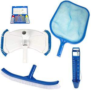 well2wellness Kit d'accessoires de Piscine – 5 pièces – épuisette, thermomètre, Brosse, aspirateur de Sol, Test de Chlore + pH