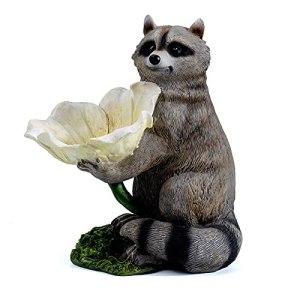 XIHUANNI Mignon raton laveur mangeoire à graines pour oiseaux sauvages, bain d'eau pour fleurs, statue de décoration en résine, ornement de jardin pour écureuil, maison ou extérieur