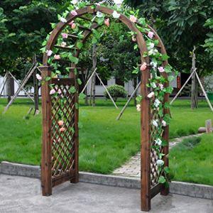 XLOO Arche de Jardin, Bois de Sapin de Jardin au-Dessus de Treillis de Haute pergola de Patio en Plein air, Grande Taille, imperméable, contrôle des Insectes, pour diverses Plantes grimpantes.